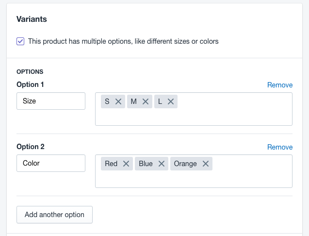 Adding variants to your shopify products