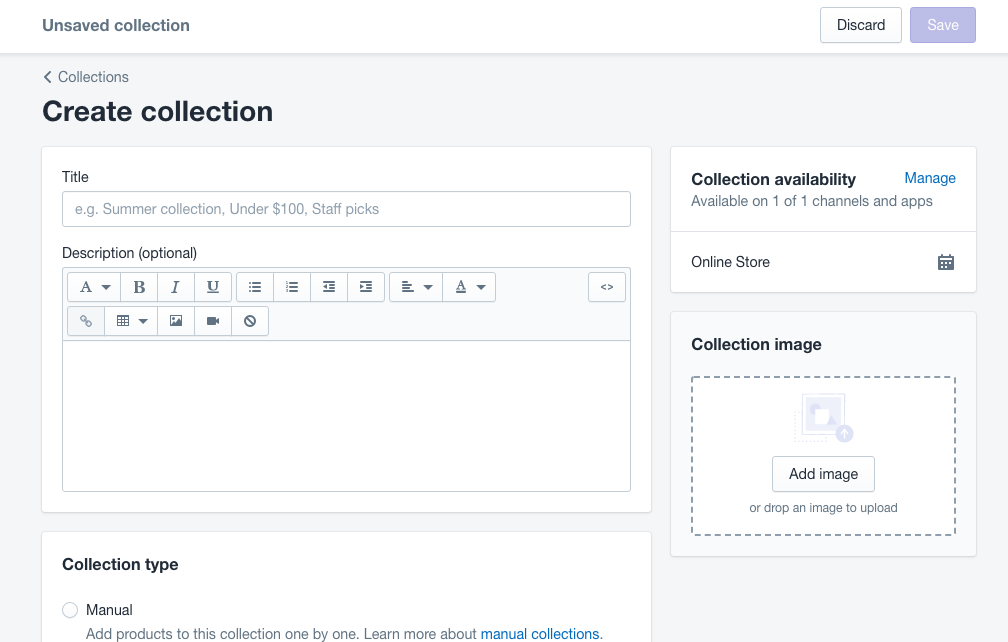 Create a collection using Shopify