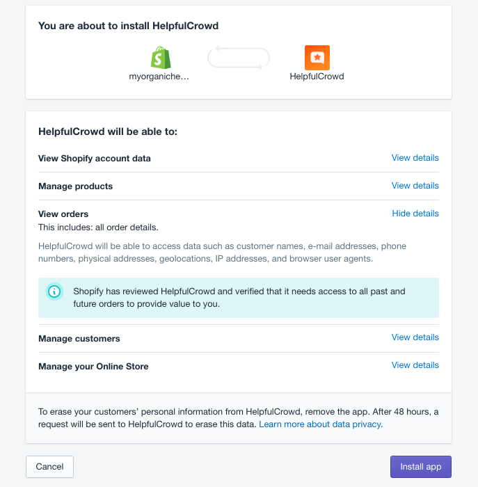 Install a Shopify App