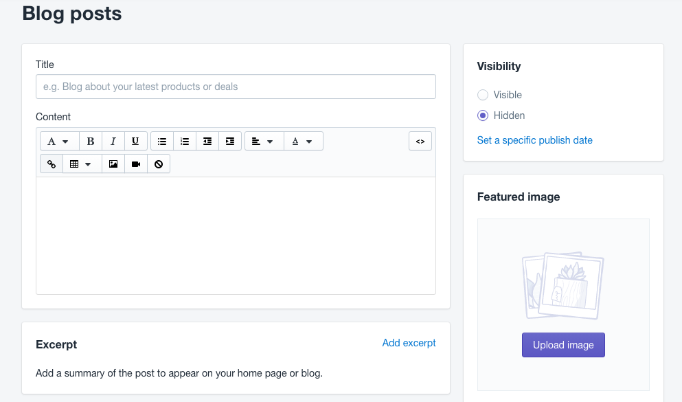 Add a blog post in Shopify