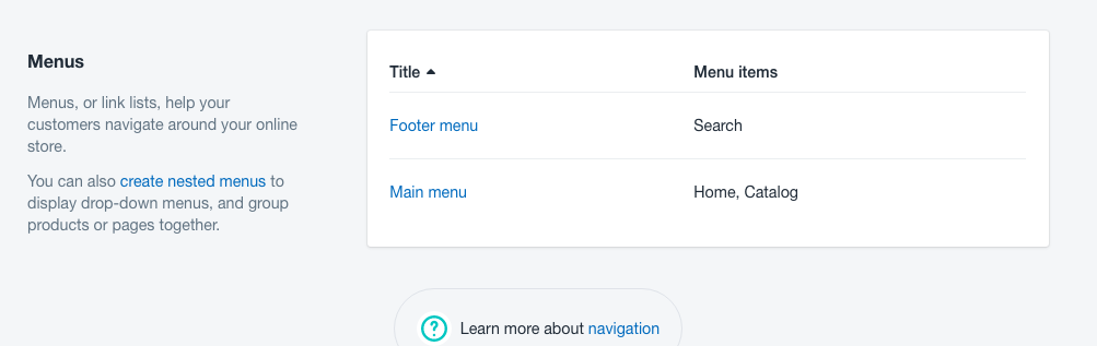 How to add a navigation menu to your shopify store