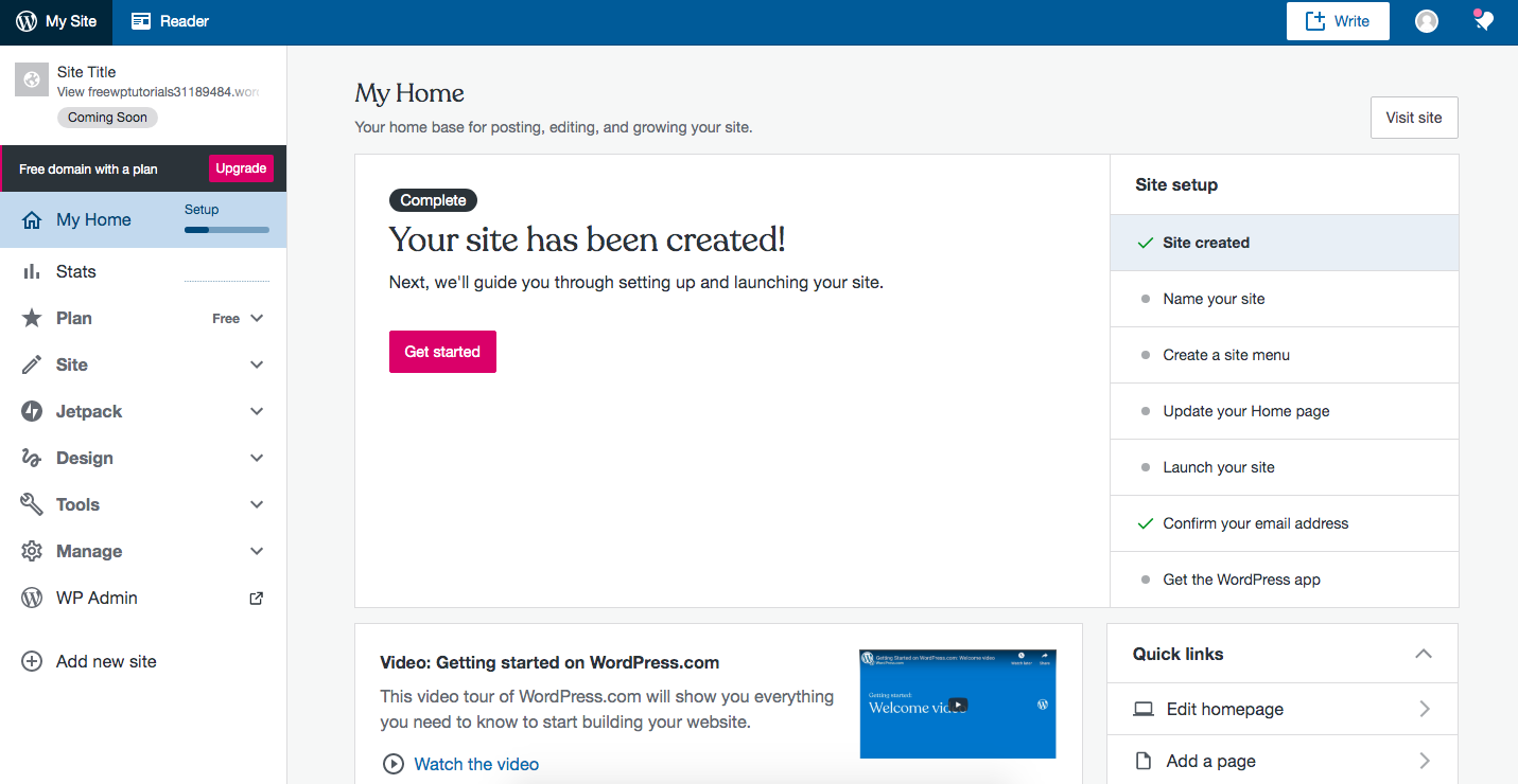 Account Created, WordPress.com Dashboard