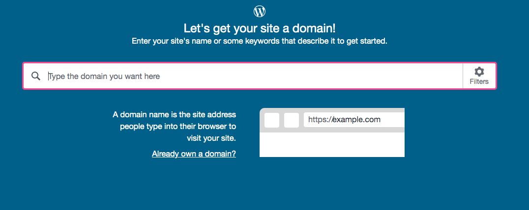 Create an account in WordPress.com, Step 2, Selecting a domain name
