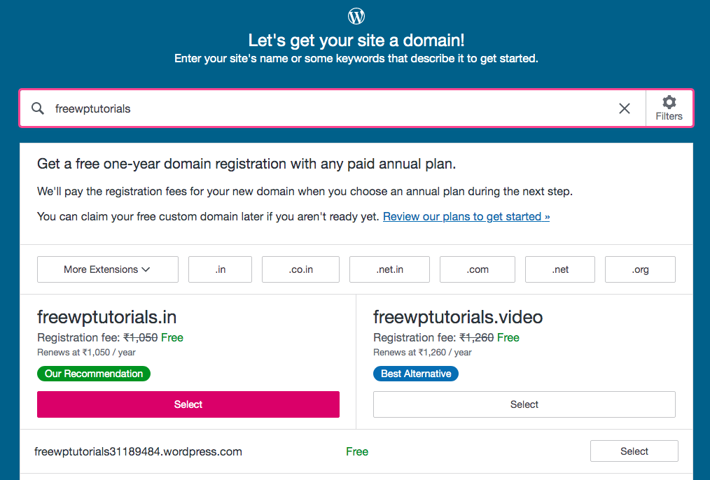Select a domain name, WordPress.com set up process